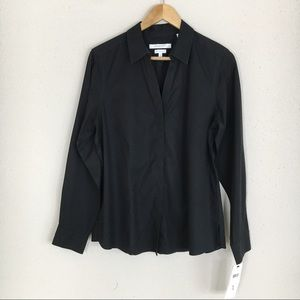 Foxcroft Black Non Iron Stretch Fitted Blouse